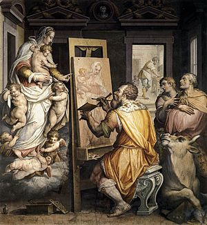 Saint Luke painting the Virgin - Giorgio Vasari paints himself and the Virgin, 1565.