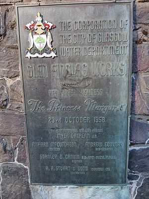 Loch Katrine - Plaque commemorating the Glen Finglas expansion of Loch Katrine waterworks, completed in 1958.