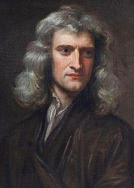 Newton in 1689 als 46-jarige door Godfrey Kneller, mogelijk een geïdealiseerd en geromantiseerd portret.[1]
