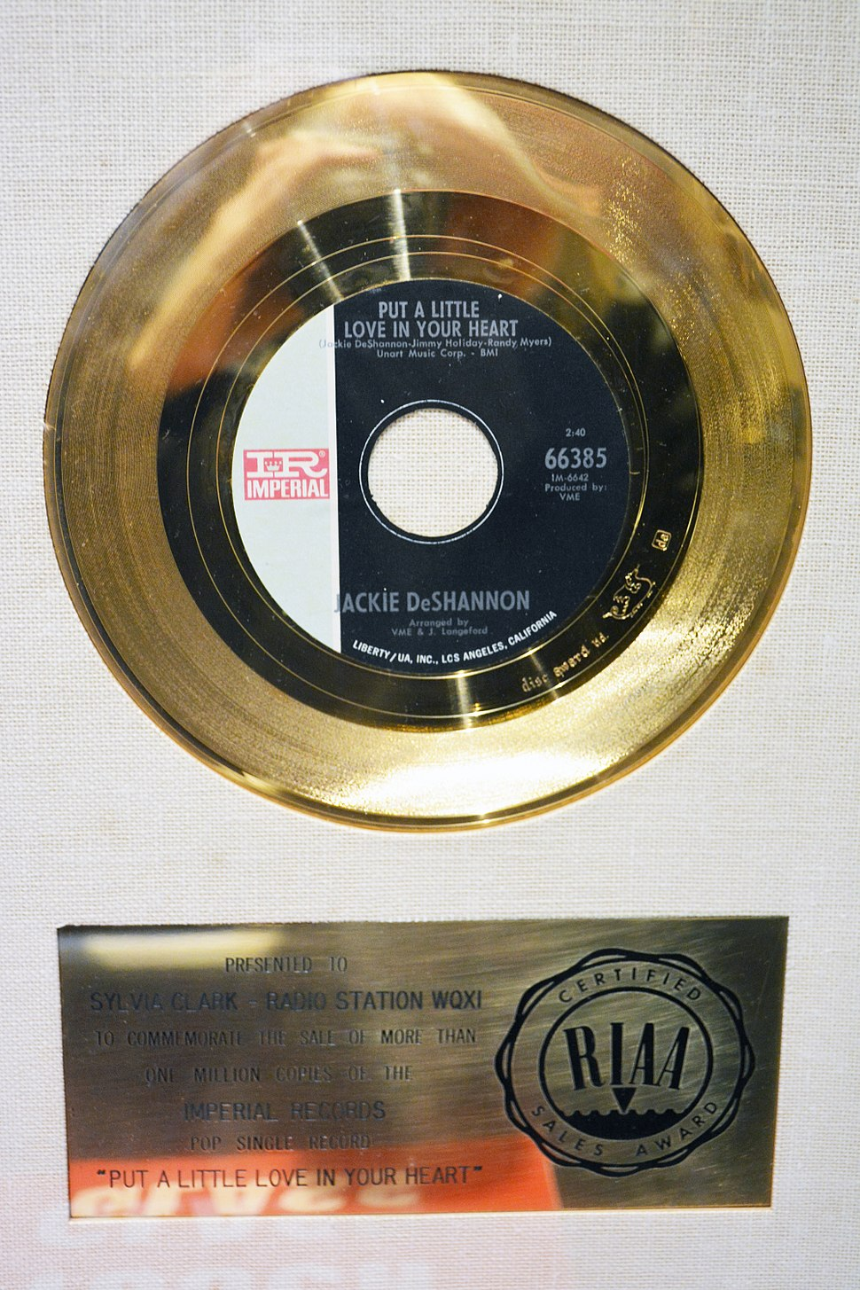 Gold record for Put a Little Love in Your Heart