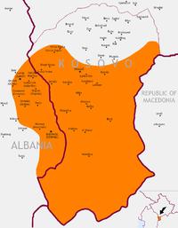 Λεπτομερής χάρτης της Γκόρα μεταξύ του Κοσσυφοπεδίου και της Αλβανίας
