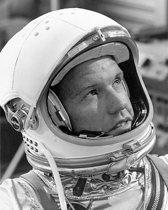 Pressure suit - Astronaut Gordon Cooper in helmet and pressure suit