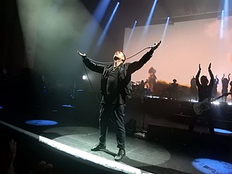 Damon Albarn - Albarn on stage with Gorillaz at the Brixton Academy in London, June 2017