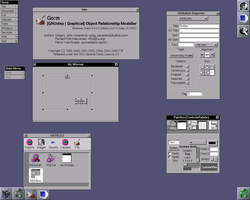Gorm in Window Maker (on FreeBSD), showing the main windows and the inspector. Note the menu and window being edited.