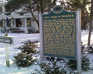 Fred M. Warner - Image: Gov Warner Mansion Sign