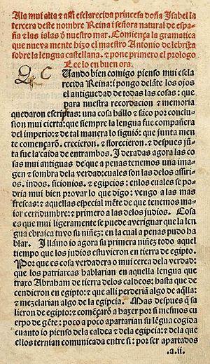 Antonio de Nebrija - Prologue of his Gramática de la lengua castellana (1492)