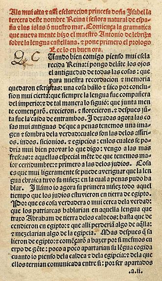 Antonio de Nebrija - Prologue of his Gramática de la lengua castellana (1492)