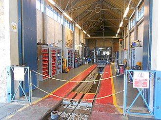 Great Orme Tramway - One of the two engineering bays in the Halfway maintenance depot.