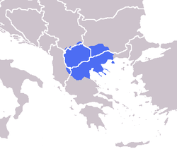 Macedonia shown in blue. The modern region of Macedonia is divided by the national boundaries of Greece (Greek Macedonia), the Republic of Macedonia, Bulgaria (Blagoevgrad Province), Albania (Mala Prespa and Golo Brdo), Serbia (Prohor Pčinjski) and Kosovo (Gora).
