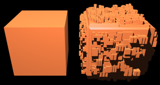 Greeble - A cube and its greebled version