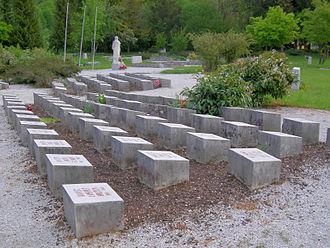Begunje na Gorenjskem - Mass grave in Begunje Castle park