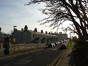 The Grove, Portland - Grove Road with the Young Offenders Institution in the background.