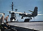 Grumman S2F-1 Tracker of VS-37 lands on USS Hornet (CVS-12), in 1960.jpg