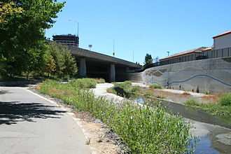 Guadalupe River (California) - Urban Guadalupe River lies in heavily armored concrete channel