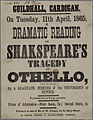 Guildhall Cardigan Dramatic Reading of Shakspeare's tragedy of Othello 1865.jpg