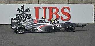 Sauber C32 - Esteban Gutiérrez exiting his stranded car at the 2013 Chinese Grand Prix