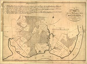 Little Hunting Creek - Colonial-era map of George Washington's estates surrounding Little Hunting Creek, including the Mount Vernon manor.  The South Branch and part of the North Branch of the creek are visible.