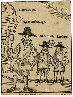 John Desborough - Satirical illustration of 1661 showing 'Gyant Desborough' brandishing a cannon outside Oliver Cromwell's palace