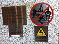 HK Mongkok 聯合廣場 Allied Plaza night warning Stainless steel sign rule No bicycling n Skateboarding Oct-2013 Slippery floor.JPG