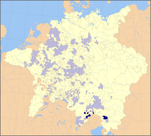 Bishopric of Brixen - Ecclesiastical states of the Holy Roman Empire, 1648, with Brixen territories highlighted