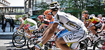 The 2010 Amgen Tour of California outside the Fairmont San Jose. HTC Columbia (5584076774).jpg