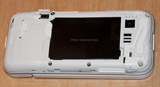 HTC Dream - A white HTC Dream with back cover removed