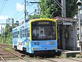 Hankai Tramway 709 at Shotensaka Station.JPG