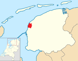 Highlighted position of Harlingen in a municipal map of Friesland