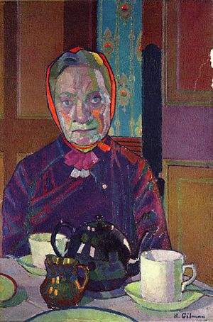 Camden Town Group - Harold Gilman. Mrs Mounter at the Breakfast Table, 1917