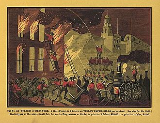 History of firefighting - Fighting a fire in New York City, 1869 illustration