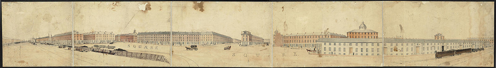 Panoramic view of Haymarket Square in 1835.