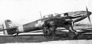 Heinkel He 112 - A Heinkel He 112 in FARR Romanian livery at Focsani airport in the end of 1942.