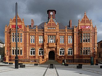 Merthyr Tydfil - The Old Town Hall after its renovation in 2014 to become REDHOUSE – Hen Neuadd Y Dref / Old Town Hall
