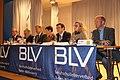 Herbert Huber, Siegfried Neumann, Reinhard Frank, Heike von Brandenstein, Wolfgang Reinhart, Kerstin Lüchtenborg und Timm Kern auf einer BLV-Podiumsdiskussion in Tauberbischofsheim 2012.jpg