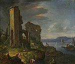 Herman Saftleven - River Landscape with Ruins, Boats and Figures.jpg