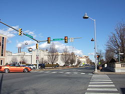 Downtown Hershey at the intersection of Chocolate and Cocoa avenues, with Hershey Kiss-shaped streetlamps