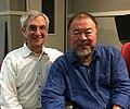 Historian and radio show host Jon Wiener with Chinese dissent artist Ai Wei Wei at KPFK in L.A., 2017.jpg