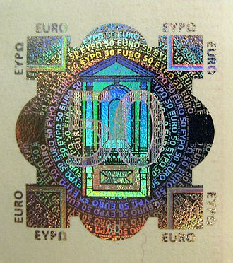 50 euro note - The hologram on the 50 euro note