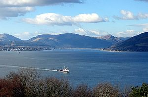 Holy Loch - The Holy Loch seen across the Firth of Clyde from Tower Hill, Gourock, with Hunters Quay on the left and Strone to the right.
