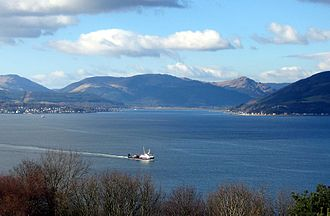 Holy Loch - The Holy Loch seen across the Firth of Clyde from Tower Hill, Gourock, with Hunters Quay on the left and Strone to the right