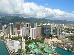 Downtown Honolulu featuring the Aloha Tower, t...