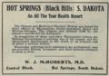 "Hot Springs Black Hills S. Dakota (""American medical directory"", 1906 advert).png"