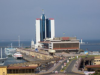 Port of Odessa - Passenger Terminal and Hotel Odessa, in a background to the right Vorontsov Lighthouse