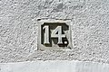 House number 14 carved in stone, Guanajuato.jpg