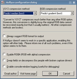 Huffyuv - VfW configuration dialog of Huffyuv video codec