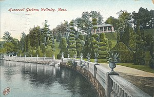 Hunnewell Estates Historic District - Topiary 'Italian Garden' on the H.H. Hunnewell estate circa 1909.