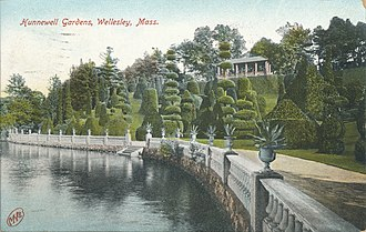 H. H. Hunnewell - H. H. Hunnewell estate, topiary section on the shore of Lake Waban, Wellesley, Massachusetts (1909).