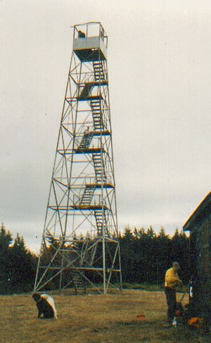 Hunter Mountain (New York) - Actual summit of Hunter Mountain, with fire tower, in 1999, before renovations. The cab is currently boarded up.