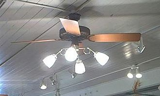 "Ceiling fan - A cast-iron ceiling fan made by Hunter, dating from the early 1980s. This model is called the ""Original""."