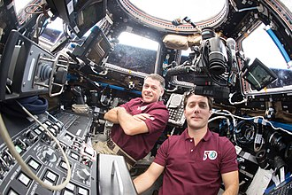 Cupola (ISS module) - Expedition 50 crewmembers Pesquet (right) and Kimbrough (left) in the Cupola, December 2016